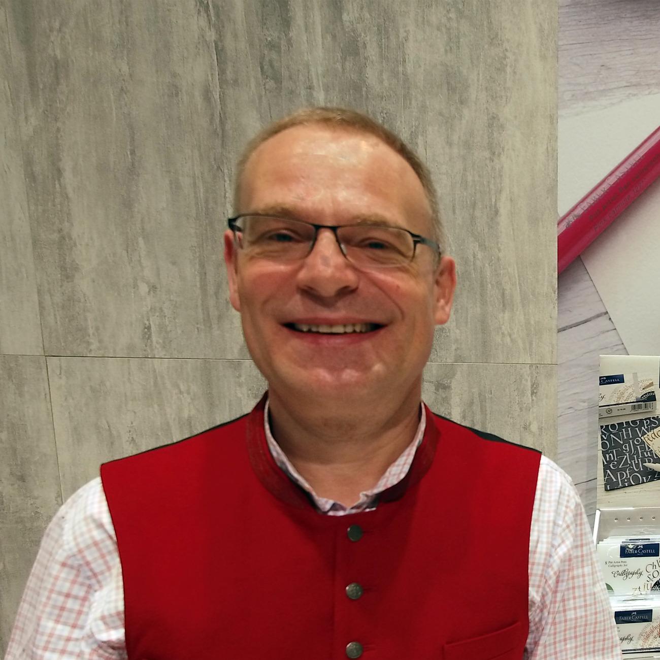 Der Kalligraf Joachim Propfe - hier auch der Fachmesse Insights-X 2018 in Nürnberg