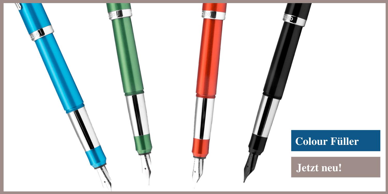 Ein schönes Alu-Design bietet der Colour-Füllfederhalter von Cleo Skribent