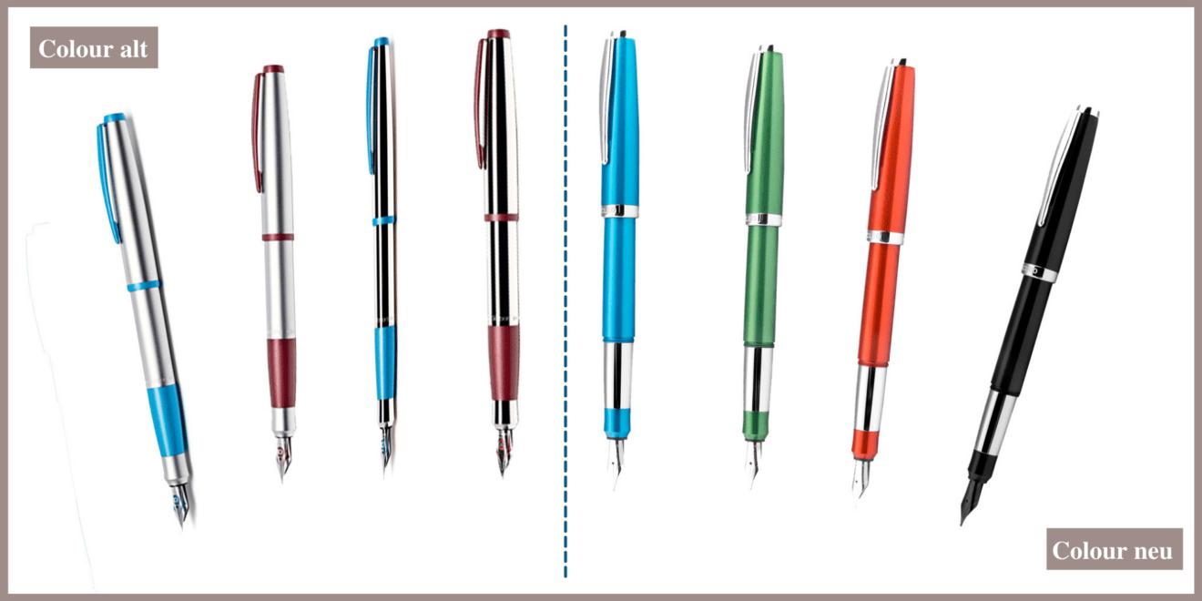 Die Colour-Linie von Cleo Skribent: alt (links) und neu (rechts) im Vergleich