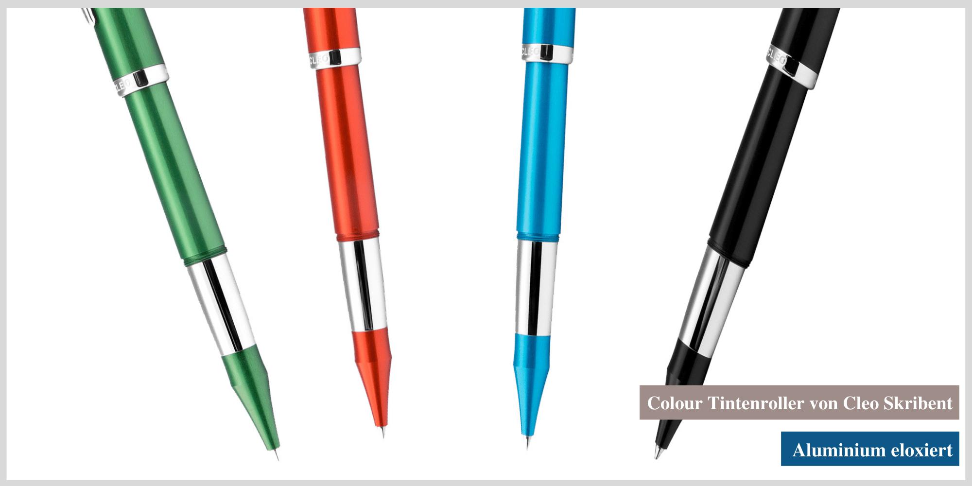 Den Colour-Tintenroller von Cleo Skribent gibt es in vier Farbvarianten.