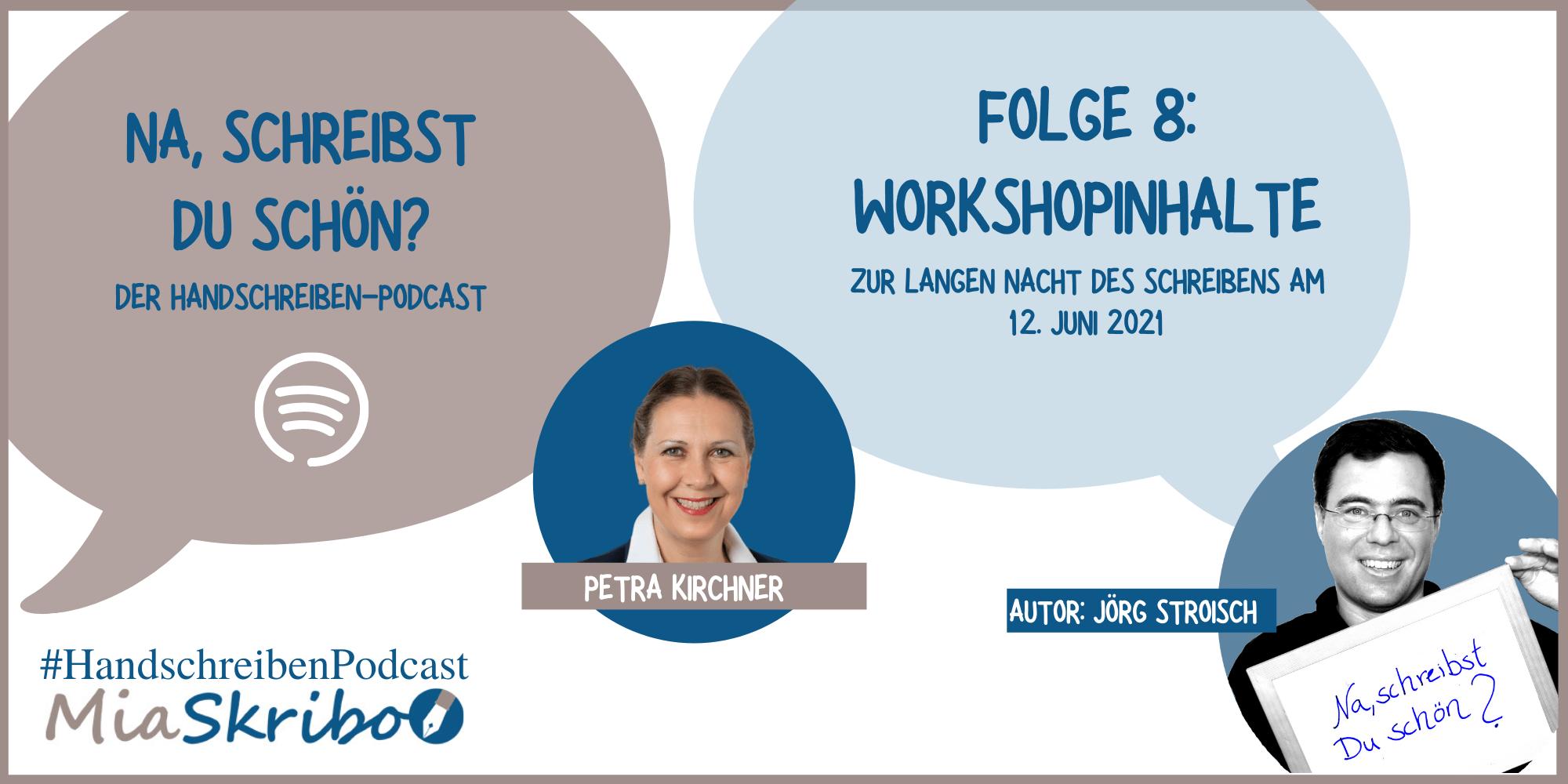 """Im Podcast """"Na, schreibst Du schön?"""" erzählt Petra Kirchner, was sie zu den Workshops zur Langen Nacht des Schreibens plant."""