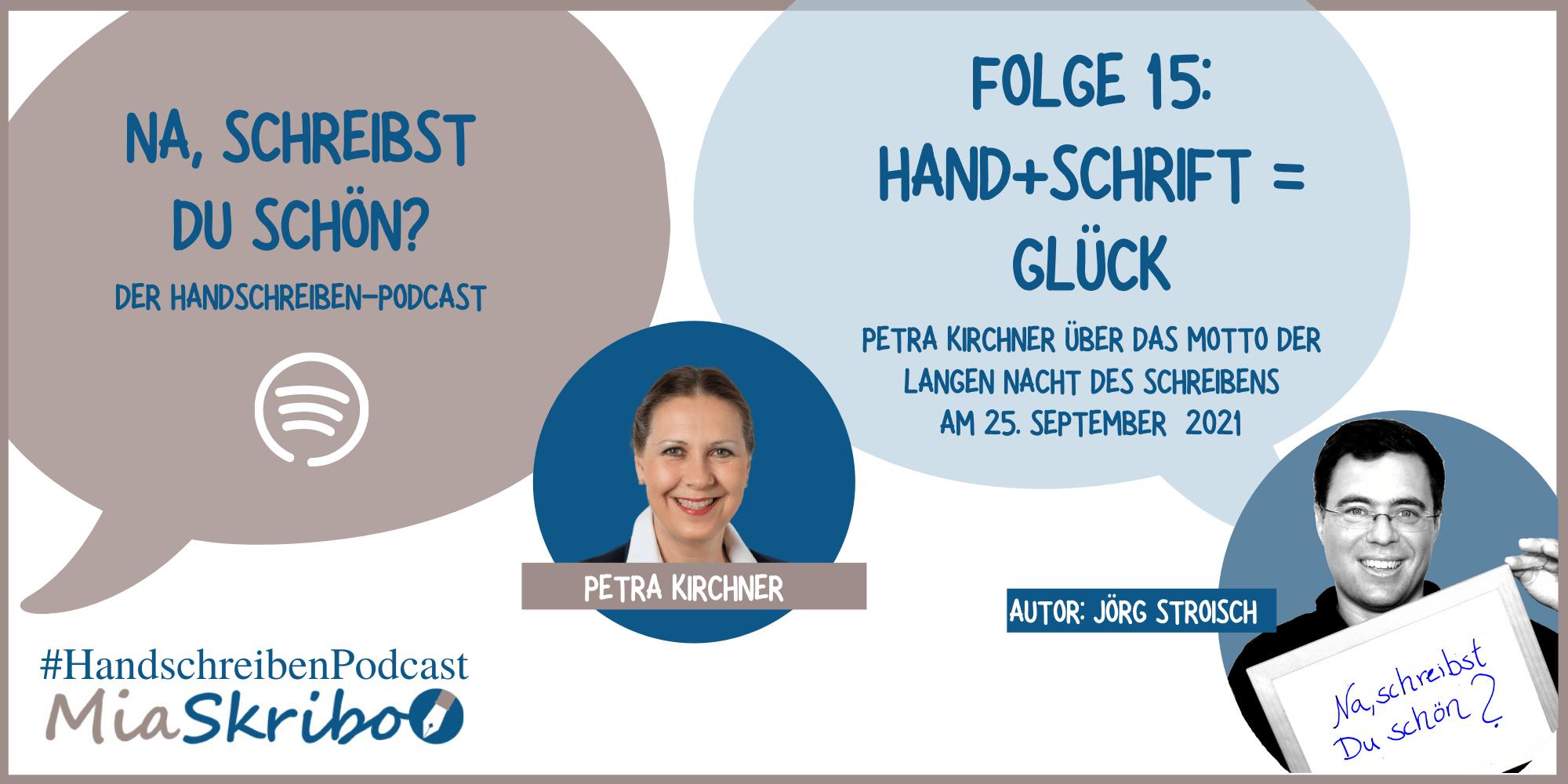 """Die Lange Nacht des Schreibens steht unter dem Motto """"Hand+Schrift=Glück""""; Petra Kirchner beschreibt in diesem Podcast, warum sie Handschreiben glücklich macht."""